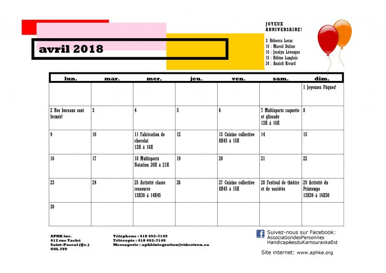 Calendrier d'avril 2018