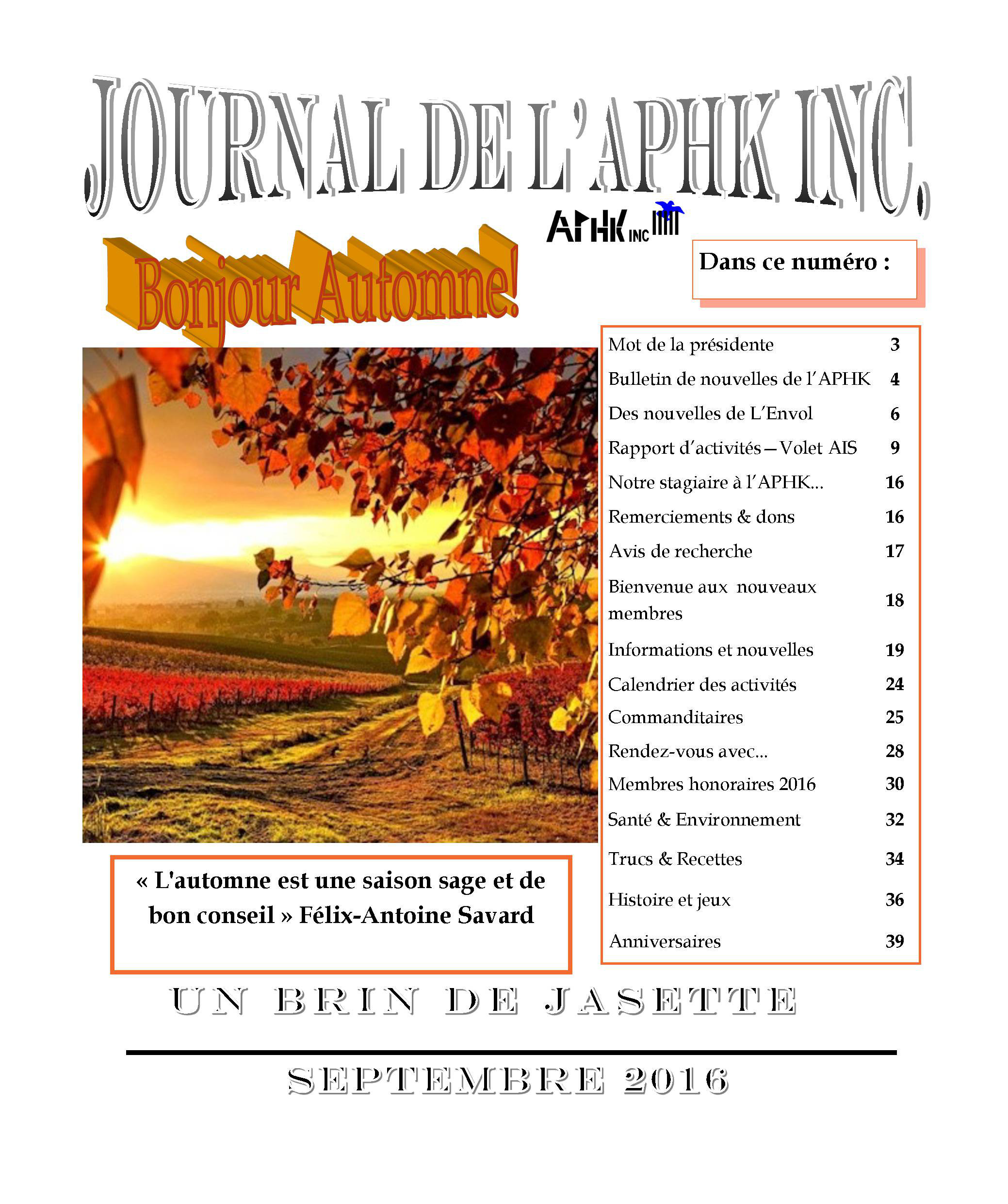 Journal de l'APHK septembre 2016